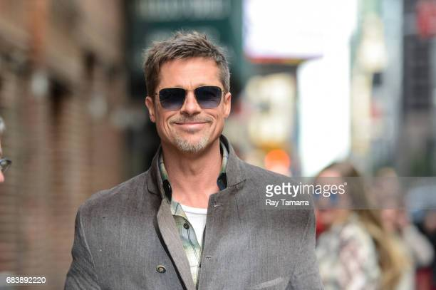 """Actor Brad Pitt leaves the """"The Late Show With Stephen Colbert"""" taping at the Ed Sullivan Theater on May 16, 2017 in New York City."""