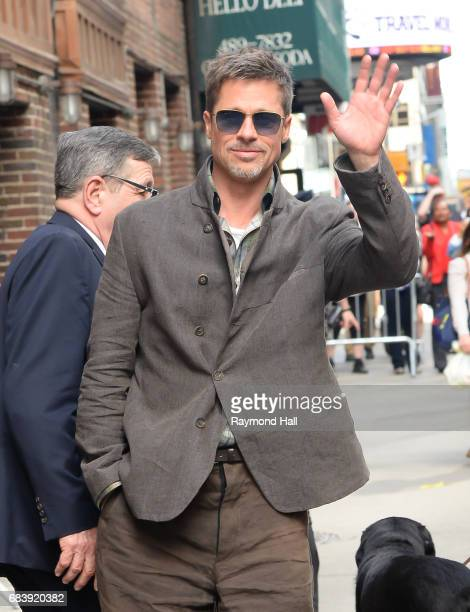 Actor Brad Pitt leaves the 'The Late Show With Stephen Colbert' taping at the Ed Sullivan Theater on May 16 2017 in New York City
