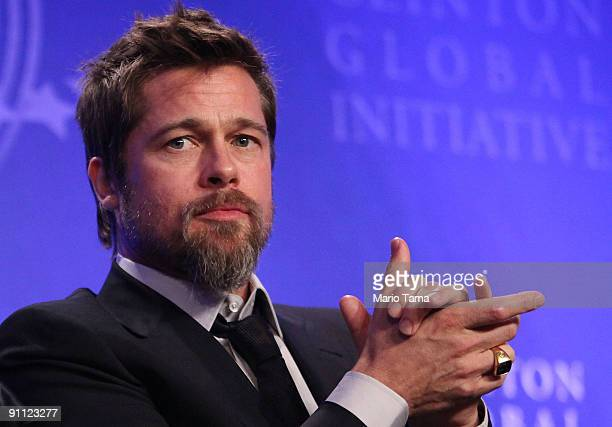 Actor Brad Pitt looks on while discussing postKatrina New Orleans at the Clinton Global Initiative September 24 2009 in New York City The fifth...