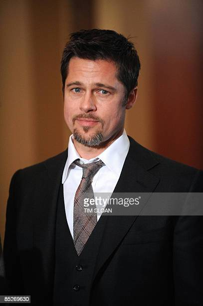 Actor Brad Pitt make remarks before his meeting with US Speaker of the House Nancy Pelosi to discuss his Make it Right chairity a project launched in...