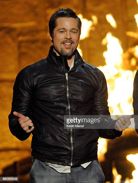 Actor Brad Pitt onstage at Spike TV's 2009 Guys Choice Awards held at the Sony Studios on May 30 2009 in Los Angeles California