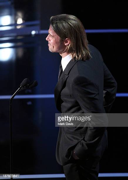 Actor Brad Pitt onstage at The 18th Annual Screen Actors Guild Awards broadcast on TNT/TBS at The Shrine Auditorium on January 29 2012 in Los Angeles...