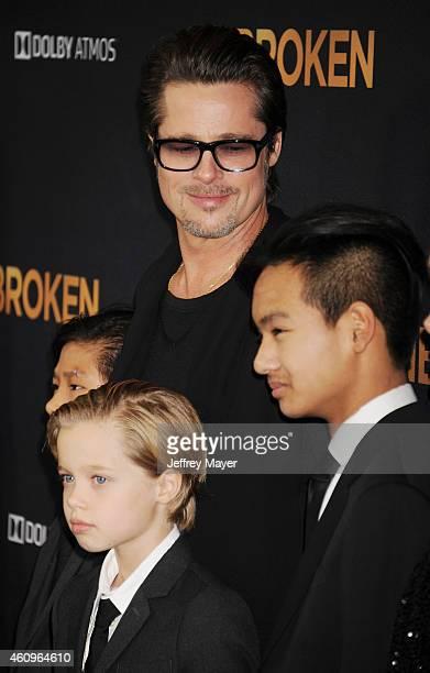 Actor Brad Pitt Pax Thien JoliePitt Shiloh Nouvel JoliePitt and Maddox JoliePitt attend the 'Unbroken' Los Angeles premiere held at the Dolby Theatre...