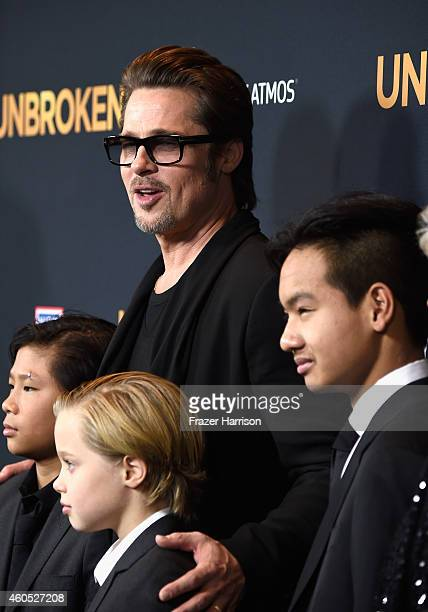 Actor Brad Pitt Pax Thien JoliePitt Shiloh Nouvel JoliePitt Maddox JoliePitt arrive at the Premiere Of Universal Studios' Unbroken at TCL Chinese...