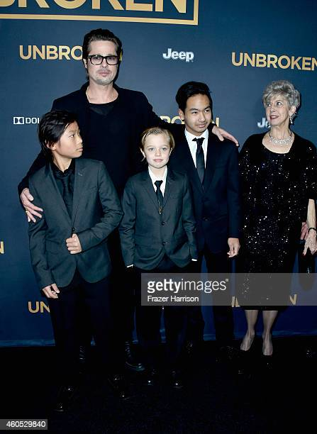 Actor Brad Pitt Pax Thien JoliePitt Shiloh Nouvel JoliePitt Maddox JoliePitt Jane Pitt arrive at the Premiere Of Universal Studios' Unbroken at TCL...