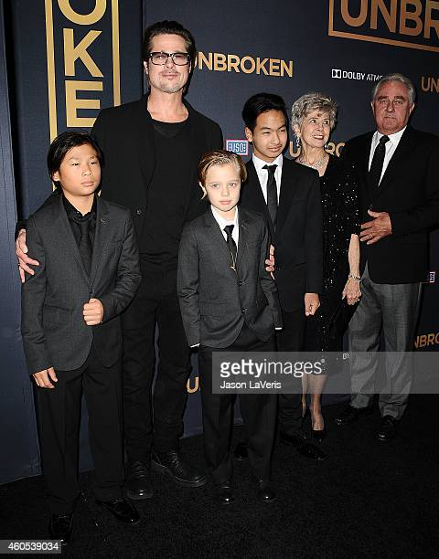 Actor Brad Pitt Pax Thien JoliePitt Shiloh Nouvel JoliePitt Maddox JoliePitt Jane Pitt and William Pitt attend the premiere of Unbroken at TCL...