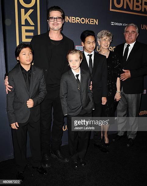 """Actor Brad Pitt , Pax Thien Jolie-Pitt, Shiloh Nouvel Jolie-Pitt, Maddox Jolie-Pitt, Jane Pitt, and William Pitt attend the premiere of """"Unbroken"""" at..."""