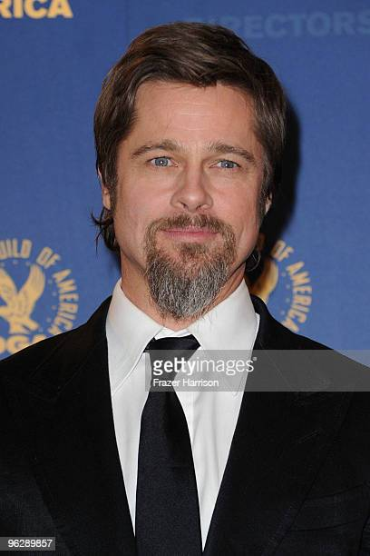 Actor Brad Pitt poses in the press room during the 62nd Annual Directors Guild Of America Awards held at the Hyatt Regency Century Plaza on January...