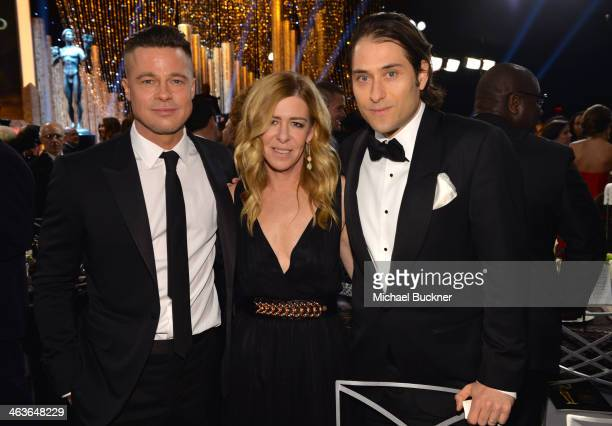Actor Brad Pitt producer Dede Gardner and producer Jeremy Kleiner attend the 20th Annual Screen Actors Guild Awards at The Shrine Auditorium on...
