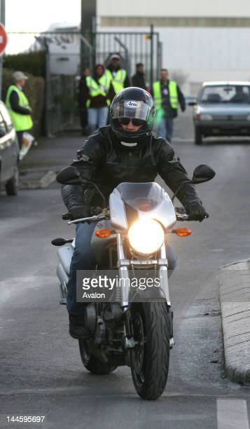 Actor Brad Pitt rides his motorbike to Le Bourget airport on the outskirts of Paris, where he has signed up for flying lessons. His hairstyle takes...