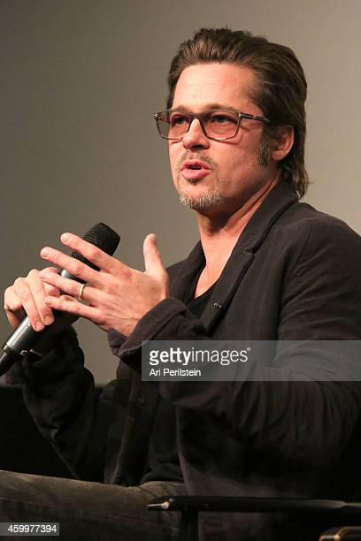 Actor Brad Pitt speaks at Fury Special Screening and QA at Pacific Design Center on December 4 2014 in West Hollywood California