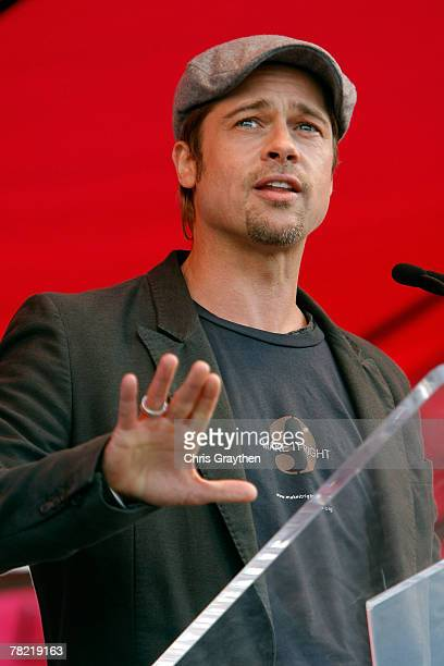 Actor Brad Pitt speaks during a press conference to unveil the site and design of his Make It Right program on December 3 2007 in the Lower Ninth...