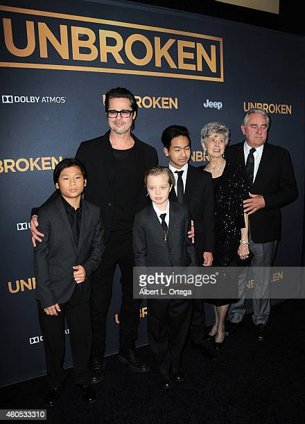 Actor Brad Pitt with children Pax Shiloh Maddox and parent Jane Pitt and William Pitt arrive for the Premiere Of Universal Studios' Unbroken held at...
