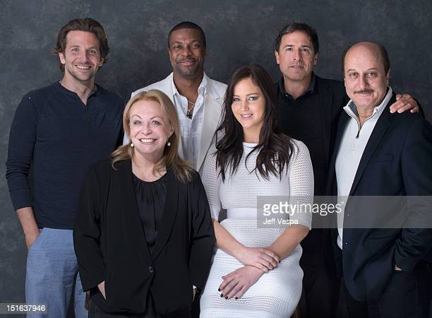Actor Bradley Cooper actress Jacki Weaver actor Chris Tucker actress Jennifer Lawrence director David O Russell and actor Anupam Kher of 'Silver...
