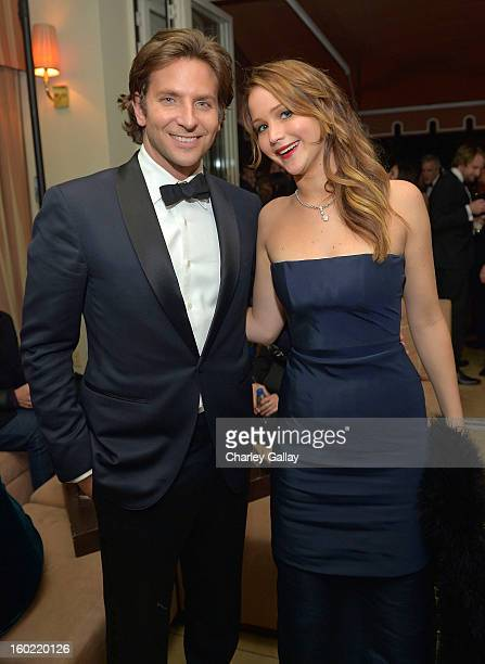 Actor Bradley Cooper and actress Jennifer Lawrence attend The Weinstein Company's SAG Awards After Party Presented By FIJI Water at Sunset Tower on...