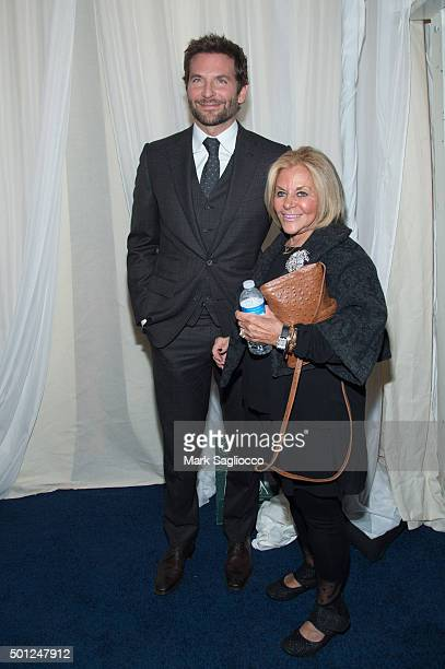 Actor Bradley Cooper and Gloria Campano attend the Joy New York premiere at the Ziegfeld Theater on December 13 2015 in New York City