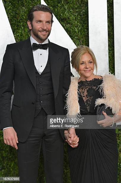 Actor Bradley Cooper and Gloria Cooper arrives at the 2013 Vanity Fair Oscar Party hosted by Graydon Carter at Sunset Tower on February 24 2013 in...