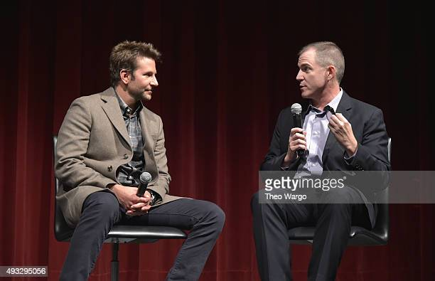 Actor Bradley Cooper and moderator Frank Bruni speak on stage at the Private Screening Of BURNT, Q&A Panel And Reception With Bradley Cooper And...