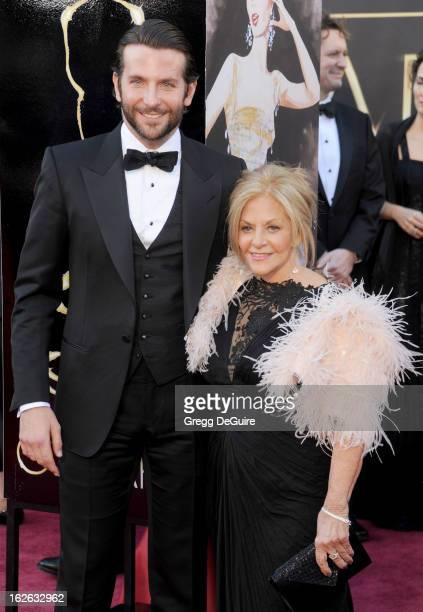 Actor Bradley Cooper and mom Gloria Cooper arrive at the Oscars at Hollywood Highland Center on February 24 2013 in Hollywood California