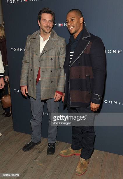 6ece3431a6e8dd Actor Bradley Cooper and New York Giants wide receiver Victor Cruz pose  backstage at the Tommy