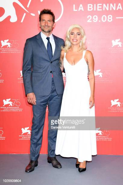 Actor Bradley Cooper and Singer and actress Lady Gaga attend 'A Star Is Born' photocall during the 75th Venice Film Festival at Sala Casino on August...