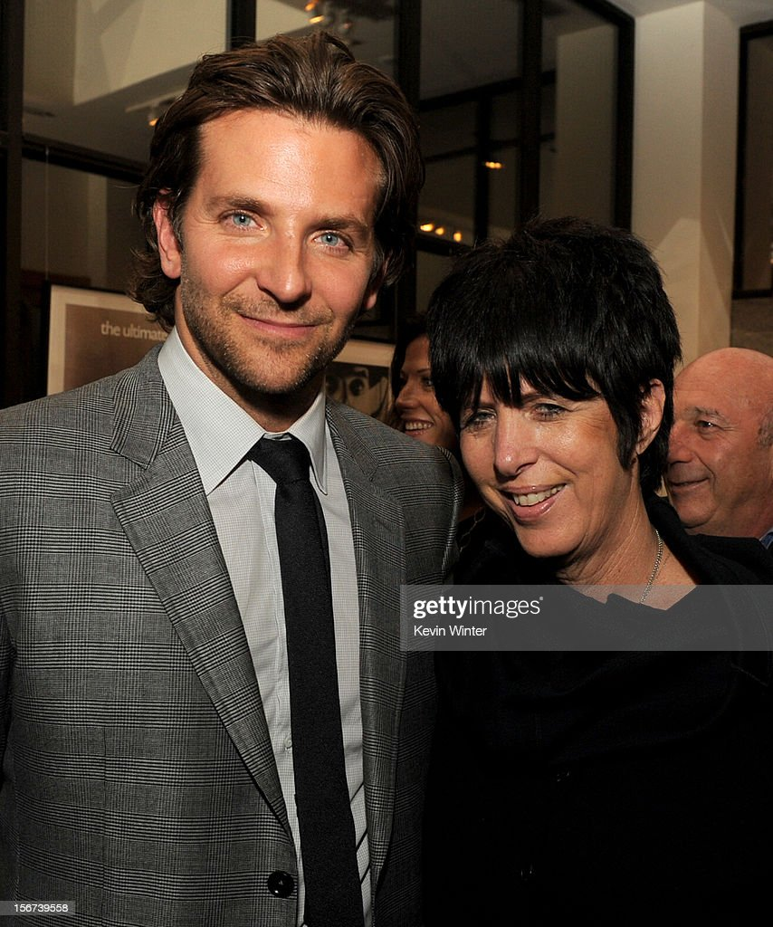 Actor Bradley Cooper (L) and songwriter Diane Warren pose at the after party for a screening of The Weinstein Company's 'Silver Lining's Playbook' at the Academy of Motion Picture Arts and Sciences on November 19, 2012 in Beverly Hills, California.