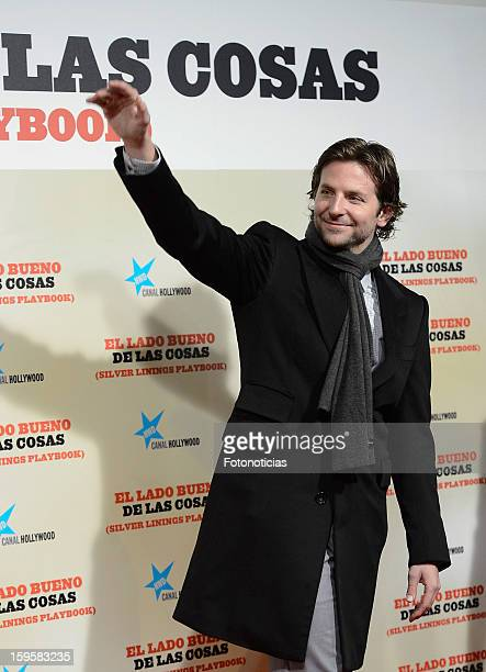 Actor Bradley Cooper attends the premiere of 'Silver Linings Playbook' at Callao Cinema on January 16 2013 in Madrid Spain