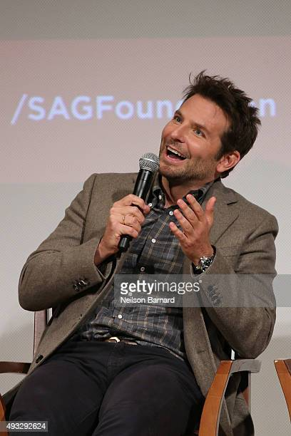 """Actor Bradley Cooper attends the SAG Foundation Conversations Screening and Q&A with the cast of """"Burnt"""" at The New School on October 18, 2015 in New..."""