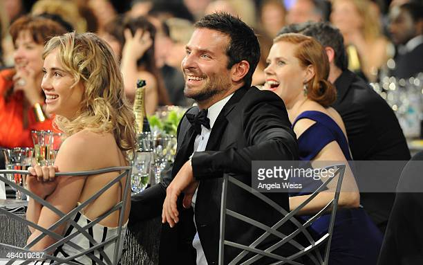 Actor Bradley Cooper , model Suki Waterhouse and actress Amy Adams attend the 20th Annual Screen Actors Guild Awards at The Shrine Auditorium on...