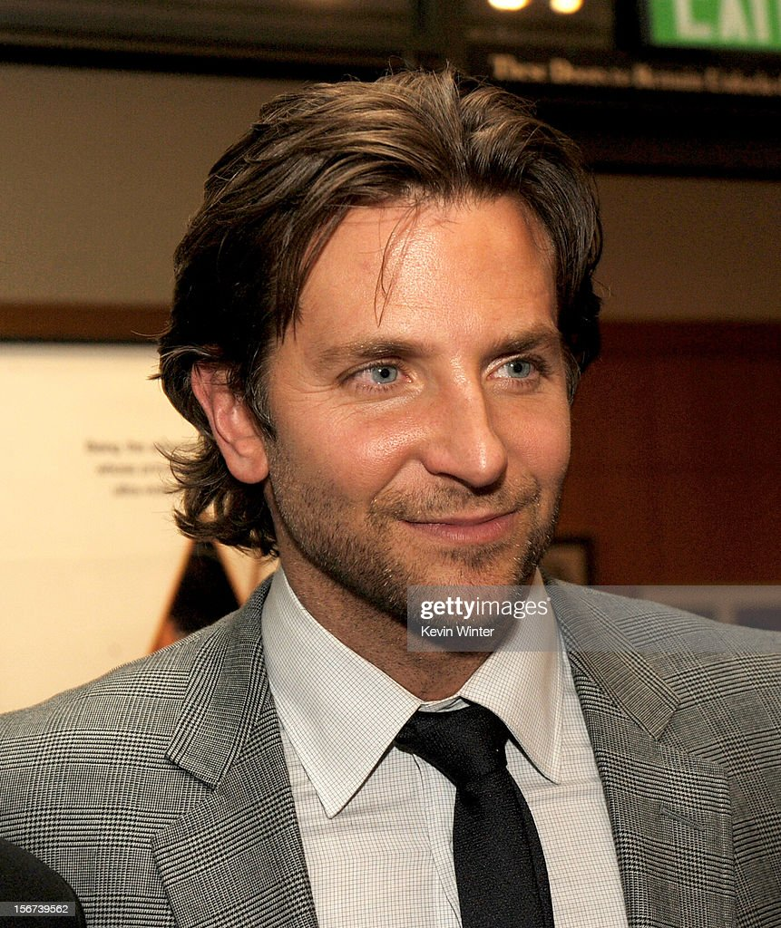 Actor Bradley Cooper poses at the after party for a screening of The Weinstein Company's 'Silver Lining's Playbook' at the Academy of Motion Picture Arts and Sciences on November 19, 2012 in Beverly Hills, California.