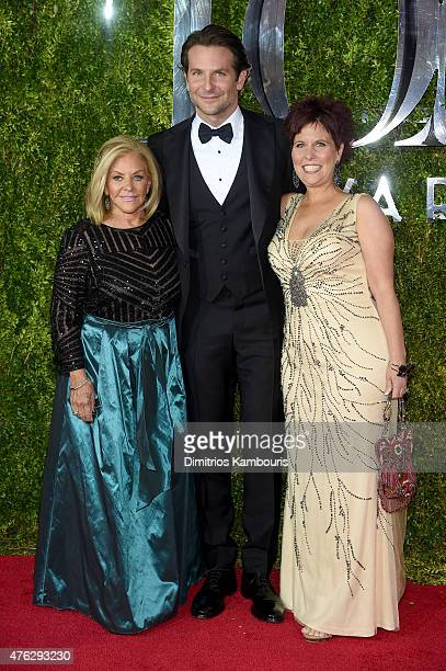 Actor Bradley Cooper poses with his mom Gloria Campano and his sister Holly Cooper at the 2015 Tony Awards at Radio City Music Hall on June 7 2015 in...