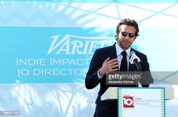 Actor Bradley Cooper speaks at Variety's 10 Directors To Watch brunch at Parker Palm Springs on January 6 2013 in Palm Springs California