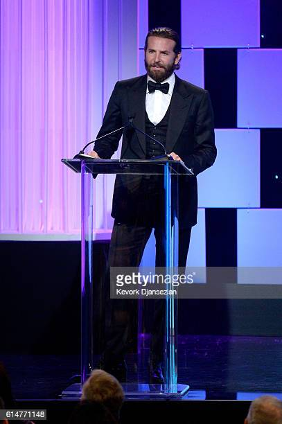 Actor Bradley Cooper speaks onstage at the 30th Annual American Cinematheque Awards Gala at The Beverly Hilton Hotel on October 14 2016 in Beverly...