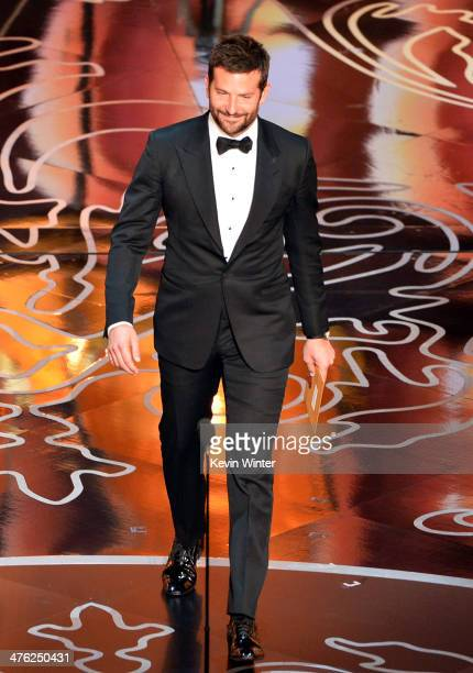 Actor Bradley Cooper speaks onstage during the Oscars at the Dolby Theatre on March 2 2014 in Hollywood California