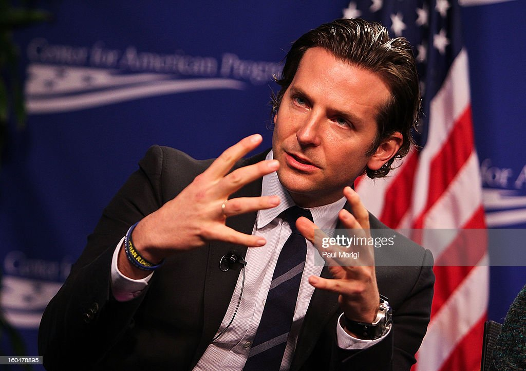 Actor Bradley Cooper, star of 'Silver Linings Playbook', a movie about a manwith bipolar disorder, answers questions at the 'Silver Lining Playbook' Mental Health Progress Press Conference at Center For American Progress on February 1, 2013 in Washington, DC.
