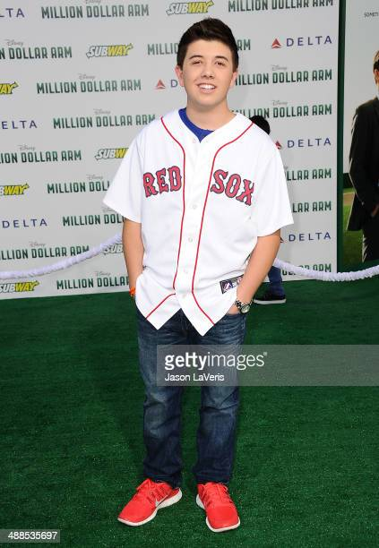Actor Bradley Steven Perry attends the premiere of Million Dollar Arm at the El Capitan Theatre on May 6 2014 in Hollywood California