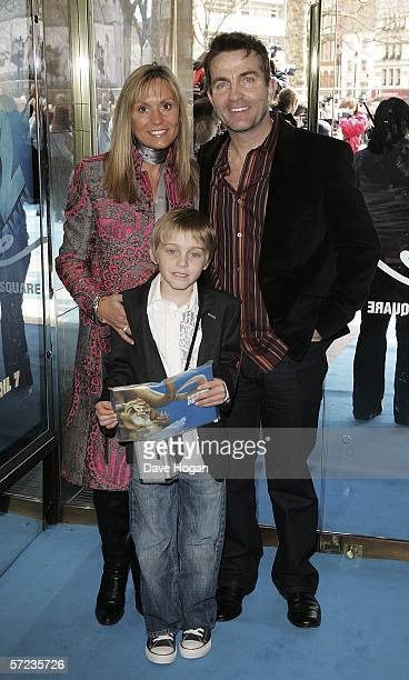 Actor Bradley Walsh his wife Donna Walsh and their son arrive at the UK Premiere of 'Ice Age 2 The Meltdown' at the Empire Leicester Square on April...