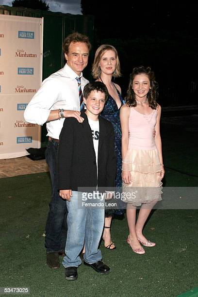 Actor Bradley Whitford actress Cynthia Nixon actor Josh Hutcherson and actress Charlie Ray arrive to the premiere of Little Manhattan in Central Park...