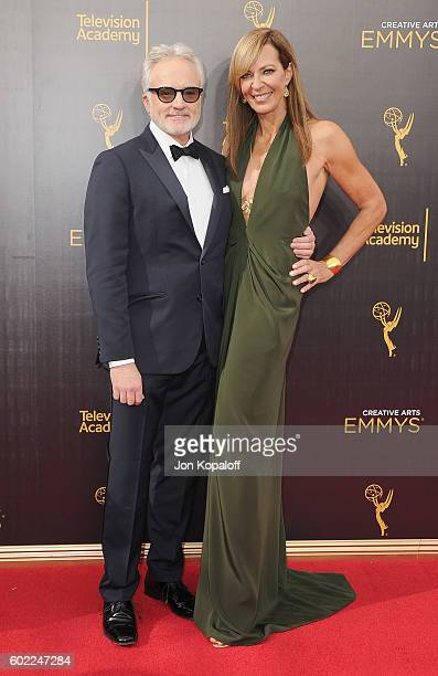 Actor Bradley Whitford and actress Allison Janney arrive at the 2016 Creative Arts Emmy Awards at Microsoft Theater on September 10, 2016 in Los...