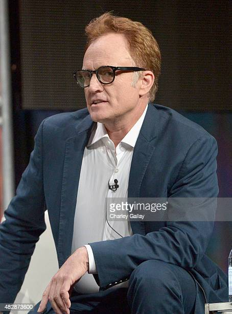Actor Bradley Whitford speaks onstage during the 'Transparent' panel discussion at the Amazon Studios portion of the 2015 Summer TCA Tour on August 3...