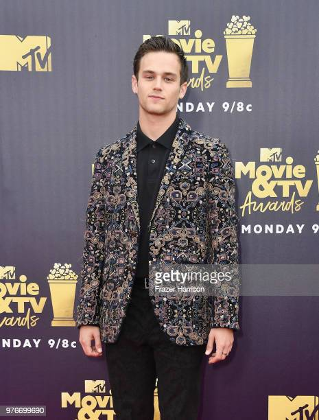 Actor Brandon Flynn attends the 2018 MTV Movie And TV Awards at Barker Hangar on June 16 2018 in Santa Monica California