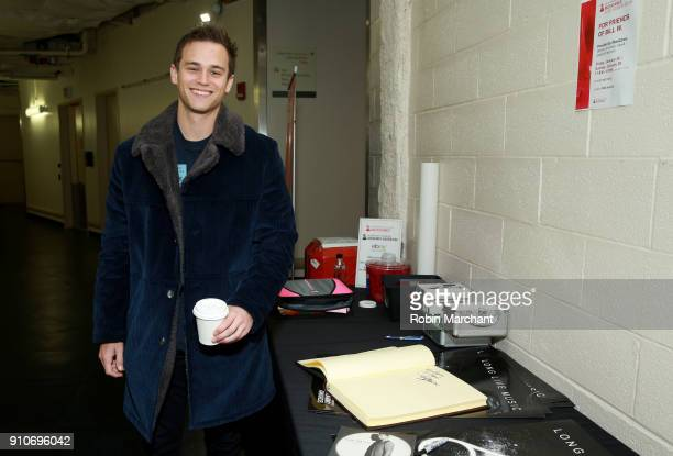 Actor Brandon Flynn with the GRAMMY Charities Signings during the 60th Annual GRAMMY Awards at Madison Square Garden on January 26 2018 in New York...