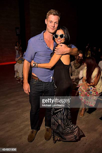 Actor Brandon Jones and Adriana De Moura attend the Parkchoonmoo fashion show during MercedesBenz Fashion Week Spring 2015 at The Pavilion at Lincoln...