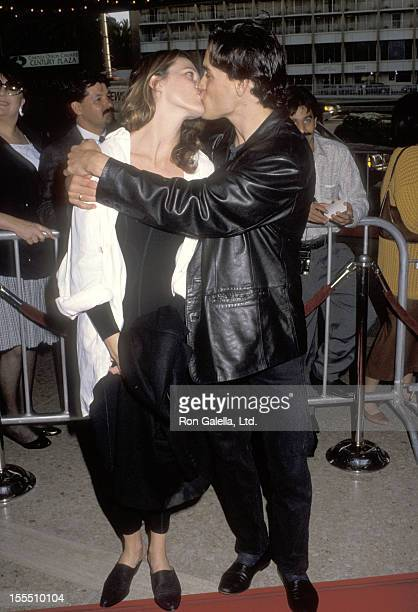 Actor Brandon Lee and girlfriend Eliza Hutton attend the Alien 3 Century City Premiere on May 19, 1992 at Cineplex Odeon Century Plaza Cinemas in...