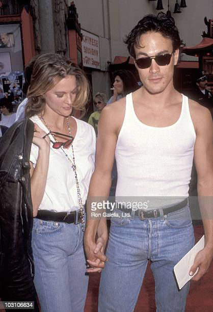 "Actor Brandon Lee and girlfriend Eliza Hutton attend the ""Little Man Tate"" Hollywood Premiere on October 6, 1991 at Mann's Chinese Theatre in..."