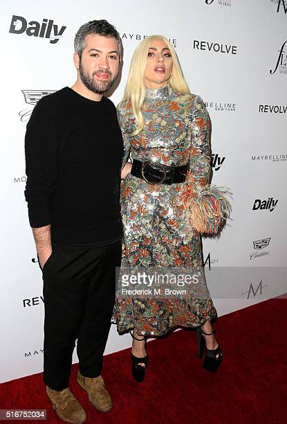 Actor Brandon Maxwell and honoree Lady Gaga attend the Daily Front Row 'Fashion Los Angeles Awards' at Sunset Tower Hotel on March 20 2016 in West...