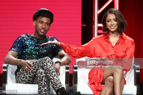 Actor Brandon Mychal Smith and actress Kat Graham of the television show The Rise of the Teenage Mutant Ninja Turtle speak during the Viacom segment...