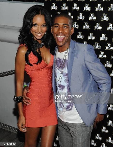 Actor Brandon Mychal Smith and girlfriend, model Jasmine Tookes arrive at his 21st birthday bash presented by Vivitar and DJ Hero on June 5, 2010 on...