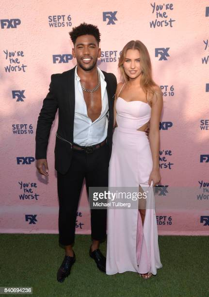 Actor Brandon Mychal Smith and guest attend the premiere of Season 4 of FXX's You're The Worst at Museum of Ice Cream LA on August 29 2017 in Los...