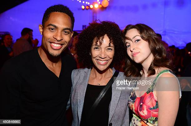 Actor Brandon P Bell Los Angeles Film Festival director Stephanie Allain and actress Brittany Curren attend the after party for the premiere of Dear...